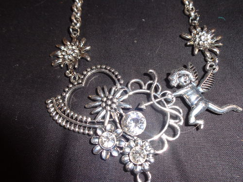 bavarian necklace silver with strass