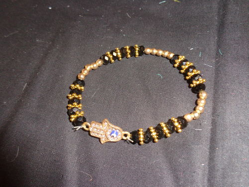 elastic bracelet gold with black beads