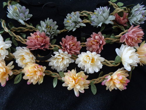 hair belt with flowers, diff. col.