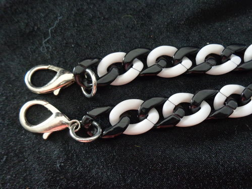 "chain for purse 15"" black/white with hooks"