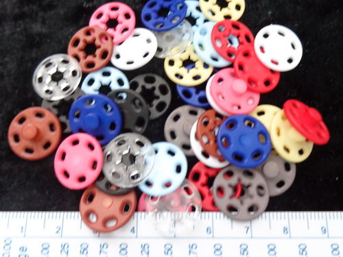 plastic snaps diff. col. 15mm